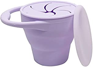 BraveJusticeKidsCo | Snack Attack Snack Cup | Collapsible Silicone Snack Container | Toddler and Baby Snack Catcher Lid (Purple)