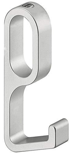 Gedotec kapstok OVAL kaststang kledingkast | kledingstang aluminium mat zilver | kastbuis 1000 mm | wasstang 30 x 14 mm | 1 stuk - meubelbuis voor wand- en plafondmontage modern 1 Stück - Einhängehaken Aluminium zilverkleurig geanodiseerd