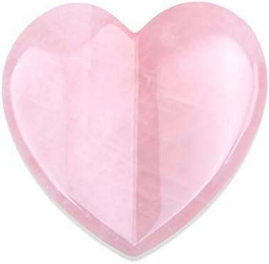 Valentines Gift Essential Oil Massage Tool 2 95 inches Rose Quartz Heart Shape Gua Sha Tools product image