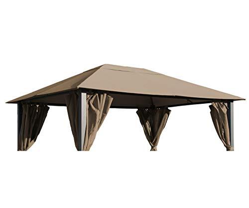 GRASEKAMP Qualität seit 1972 Ersatzdach zu Pavillon Paris 3x4m Taupe Plane Bezug Gartenpavillon