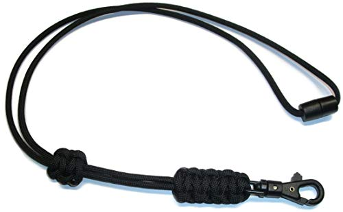 RedVex Paracord Cobra Neck Lanyard with Safety Break-Away and Adjuster - ABS Clip - Choose Your Color and size-Black-22
