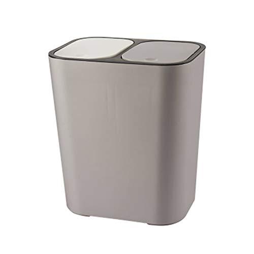 Suppyfly - Papelera rectangular de plástico con doble compartimento, apertura con botón...
