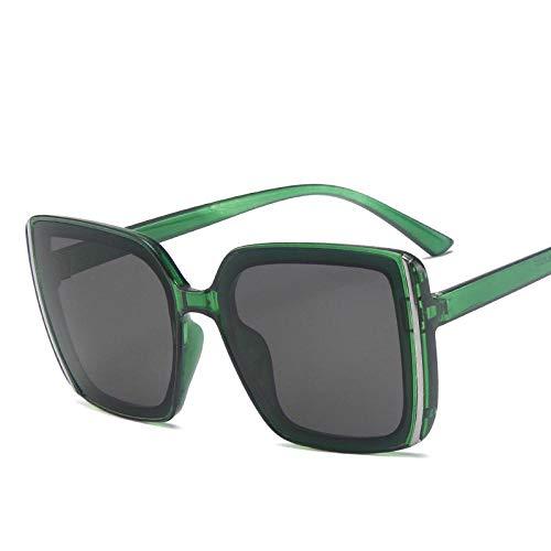Sunglasses Gafas De Sol De Plástico De Moda para Mujer, Diseño De Gran Tamaño, Retro, Cuadrado, para Hombre, Gafas De Sol con Gradiente Vintage, Uv400 Verde
