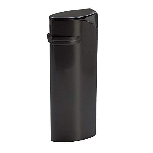 Handliches anthrazit – farbiges Feuerzeug/Gasfeuerzeug Nightfever mit Softflame/normaler Flamme. Mit Gravur: 1 Wort/Vorname auf der Vorderseite. Mit Piezozündung.