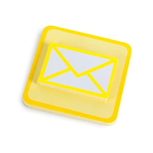 Balvi Opmerking pad 3D Geel kleur blanco notitieboekje met vierkanten en post het in een enveloppe letter Artikel origineel ontwerp voor kantoor en thuis Papier 7,5x7,5 cm