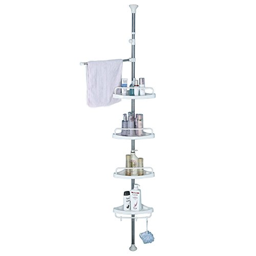 Tension Corner Shower Caddy, Adjustable Height Pole, Rustproof Stainless Steel, Ivory White