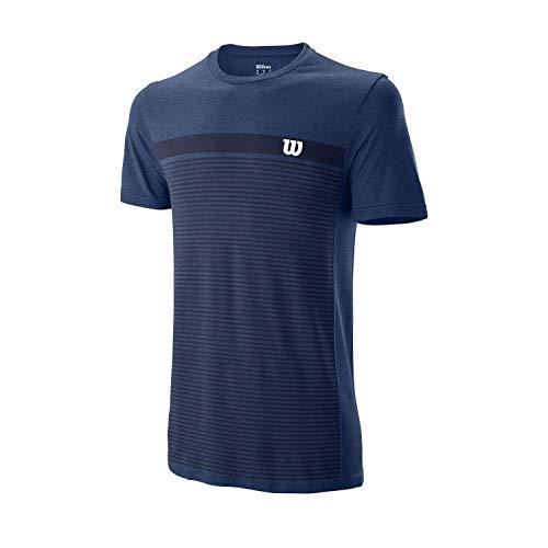Wilson Hombre, M COMPETITION SEAMLESS CREW, Camiseta de tenis manga corta, Poliéster/Nailon, Azul (Peacoat), Talla S, WRA773509