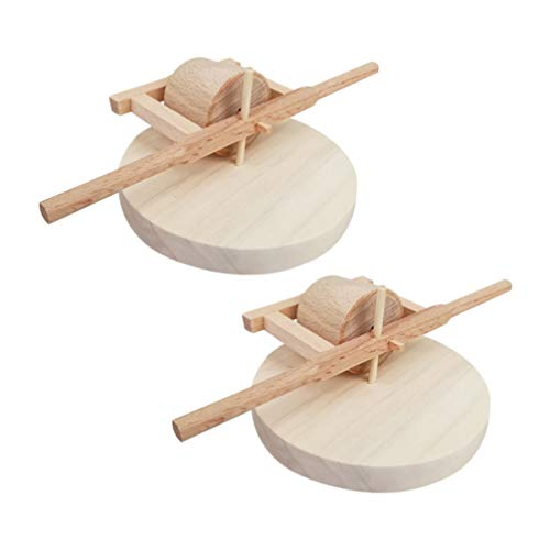 HEALLILY 2 st trä mini kvarnsten miniatyr mat slipning bondgårdsverktyg modell skrivbord hantverk prydnad dockhus möbler trädgård landskap dekor 20 x 13 x 10 cm