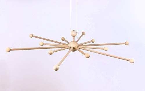 Mathar Keramik XL Mobilestern 60 cm Mobile aus Holz mit 12 Armen Holzmobile, Mobilekreuz