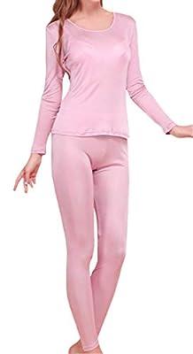 Fashion Silk Women's Silk Long Underwear | Silk Thermal Underwear Sets for Women Mulberry Silk Long Johns (Large, Rubber Red)