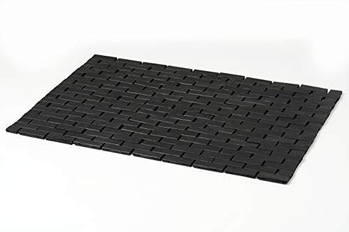 Badematte aus Bambusholz, schwarz, Größe L 40,6 x 68,9 cm, für Bad, Badewanne, Sauna und Duschtür, Teppich
