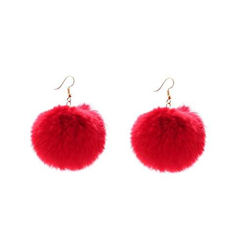 YiXing Pendientes de 5 colores a la moda con forma de bola de piel esponjosa, pendientes de gota cortos de pompón, pendientes redondos Brincos Oorbellen para mujeres (color metálico: rojo)