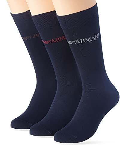 Emporio Armani Underwear Mens Casual 3 Pack Short Socks, Marine/Marine/Marine, TU (3er Pack)