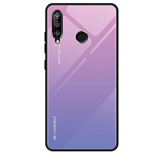 Compatible con Huawei Honor 20 Lite, funda ultradelgada y dura + cristal templado, carcasa trasera resistente a los arañazos, marco de silicona para teléfono móvil con inclinación rosa talla única