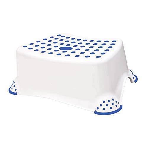 Premium Tritthocker weiss/blau stabiler Hocker für Kinder mit Anti-Rutsch-Funktion