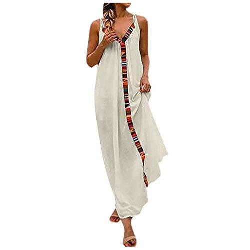 SANNYSIS Kleider Damen Sommerkleider Frauen Langes Tank Top Bikini Bademode Cover Up Cardigan Beach Kleid Ärmelloses Strand Spielanzug Boho Strandkleid Weiß (3XL, Weiß)