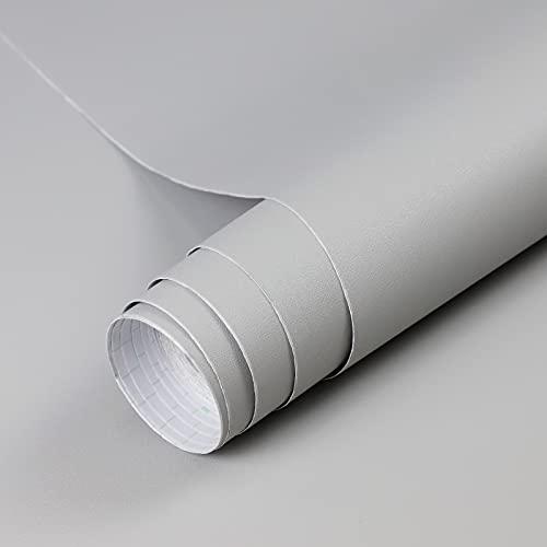Freshtour Lámina adhesiva autoadhesiva para muebles, PVC grueso, color gris claro, mate, resistente al agua, 40 x 300 cm, lámina decorativa para pared, armario, encimera, mesa