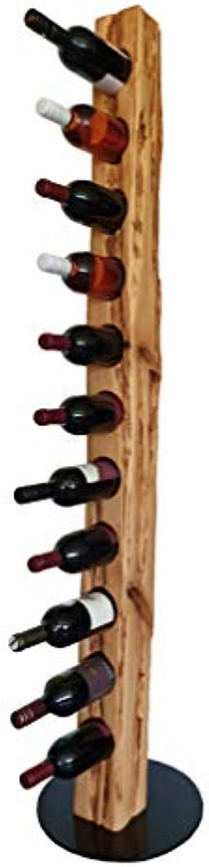 Wood & Wishes – Rustikaler Weinstnder, Weinregal, Weinhalter aus Massivholz; gefertigt in Handarbeit für 11 Flaschen Wein; dekoratives Unikat; Hhe 158 cm  34 cm; Treibholzoptik; Landhausstil