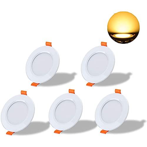 Focos Empotrables LED, 5 Pack 7W LED Empotrable Techo Redondo, 700LM, 220V-240V, No Regulable, Downlight Redondo, para Baño de Cocina Salón Dormitorio,Warm White