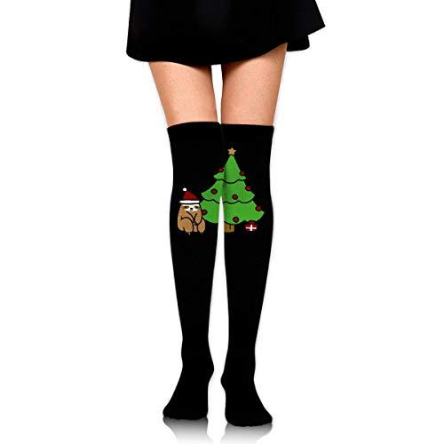Nice-Guy Weihnachtsbaum Frauen häkeln Oberschenkel hohe Socken über dem Knie hohen Strumpf