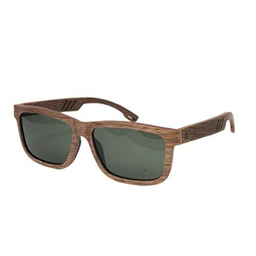WOLA Damen Herren Sonnenbrille Holz CIEL schmale eckige Brille Vollholz polarisiert UV400 Nussholz Unisex Damen L - Herren M