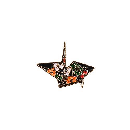 SFFSMD Las Mujeres Broche de joyería de Moda de Dibujos Animados Peces Distintivos Astronauta Dolphin tiburón Ballena grúa de Origami Esmalte Pernos Denim Bolsa de Animales Marinos (Color : Origami)