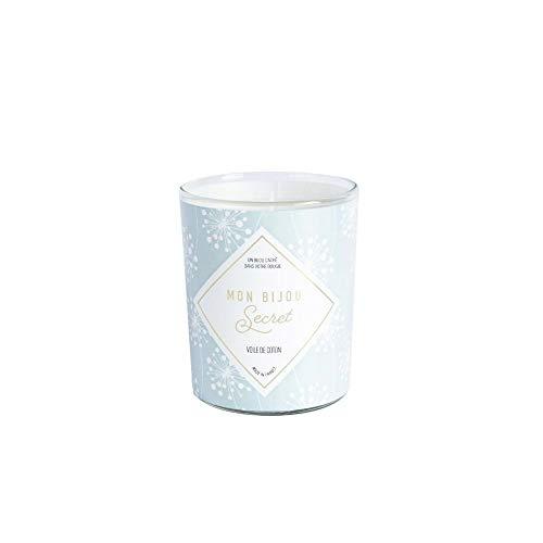 Vela joya – fabricada en Francia – Después de su combustion, descubre la joya oculta: collar plateado – Perfume de velo de algodón – 40 h