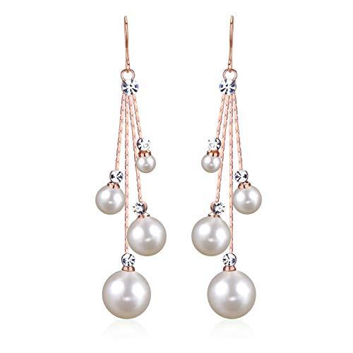 Cristal de Mujer simulado Perla Cuatro Cadena Brida Nupcial Largo Gancho Gancho Pendientes de Color Marfil joyería Accesorios de joyería