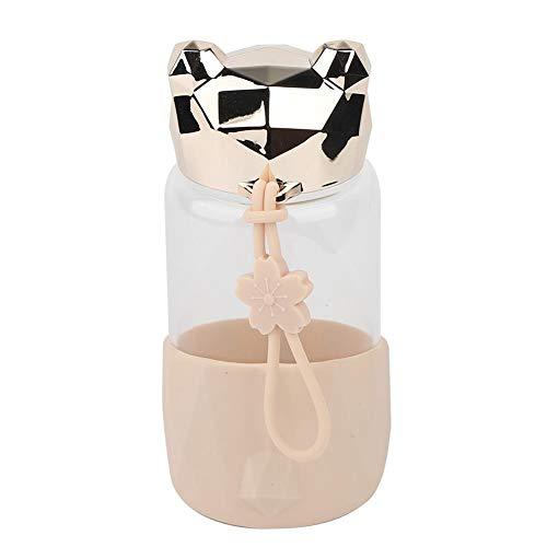 340ml mooie beer kinderen draagbare transparante glazen waterfles met verbrandingsbeveiliging (champagne goud)