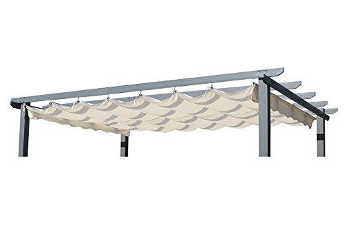 OUTFLEXX Ersatzdach für Pergola, Garten-Pergola in Creme, Pavillon aus Polyester Textil, universal und wasserabweisend, ca. 400 x 300 cm