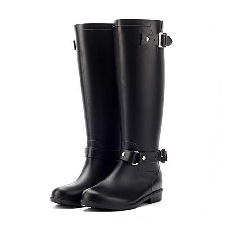 LILY999 Botas de Agua Mujer Lluvia Altas Zapato Impermeables Ajustable Cremallera y Hebilla Goma Botas Wellington(Negro 1,40 EU)