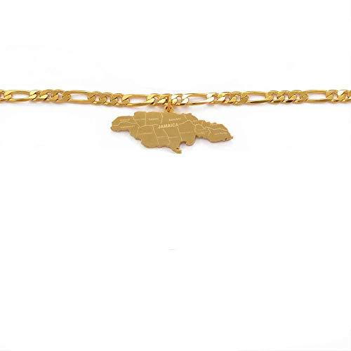 Pulsera de Halloween Pulsera de mapa de Jamaica para mujeres Hombres Brazaletes de eslabones de cadena de Jamaica y pulseras Pulsera de regalo patriótico 21cm Solo para hombre Pulsera para mujer Braza