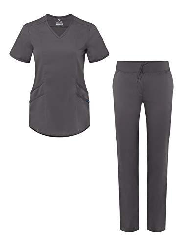 Adar Pro Uniforme médico para Mujer Casaca con Cuello en V y Pantalones de Yoga - P9100P - Pewter - M