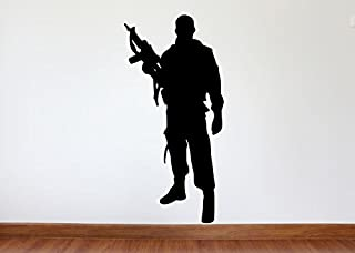 Maxx Graphixx Soldier Wall Decal - Soldier Military Silhouette Vinyl Decal - Soldier 2 (White, 27