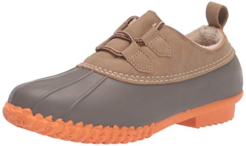 JBU by Jambu Women's Glenda Waterproof Rain Shoe, Taupe/Coral, 8.5