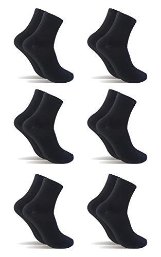 6 Pares Calcetines de tenis corte medio (Negro, 40-46)