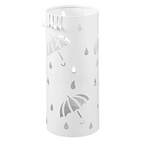 Lestarain Schirmständer Metall Regenschirmständer Schirmhalter mit Wasserauffangschale und Haken Zylinder Weiß Ø20 x H49 cm