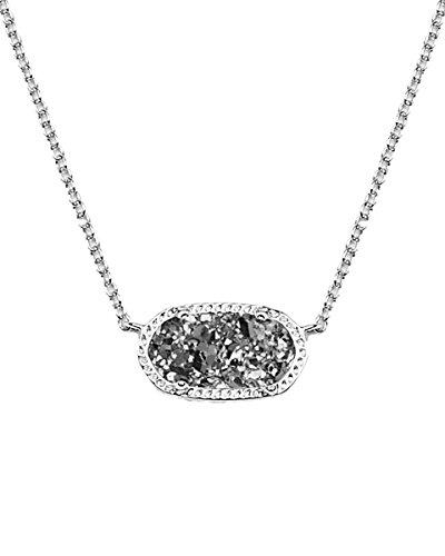 Kendra Scott Elisa Pendant Necklace Rhodium/Platinum Drusy One Size