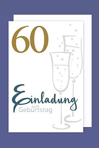 AvanCarte Einladungskarte 60 Geburtstag 5er Set Gold-Druck Sekt 5 Karten 15x11cm