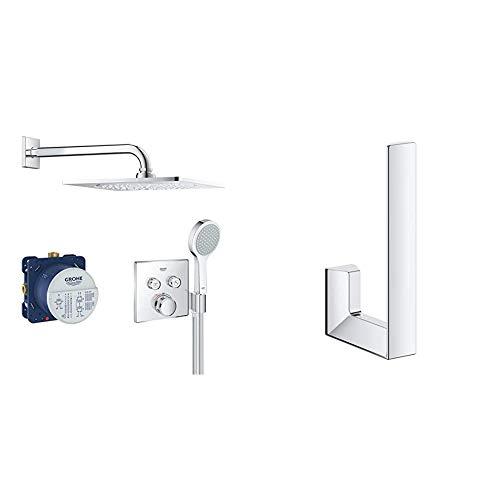 Grohe Grohtherm Smartcontrol - Bundle Smartcontrol - Conjunto termostato, Ducha Mural cuadrada 310 y alcachofa móvil (Ref. 34742000) + Portarrollos de pared, color cromo (Ref.40784000)