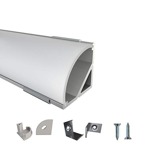 Rabando 5er Pack LED Alu Profile Eckprofil ER für 12mm LED-Streifen mit einklickbarer Abdeckung Opal - 5 m