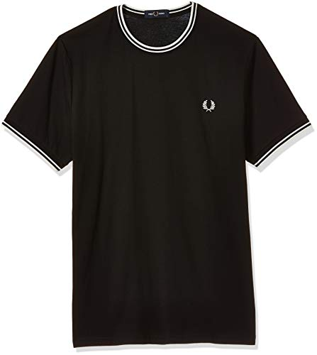 Fred Perry Herren FP Twin Tipped T-Shirt, Schwarz, Small