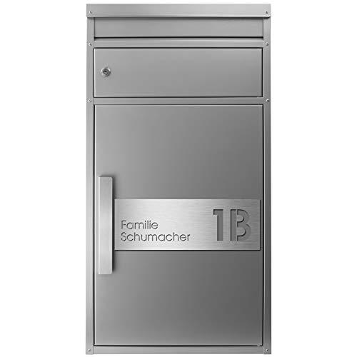 Paketbriefkasten SafePost 65MS inkl. Gravur Namensschild Edelstahl V4A/silber RAL 9006 Paketbox für alle Paketdienste Design-Briefkasten modern Standbriefkasten