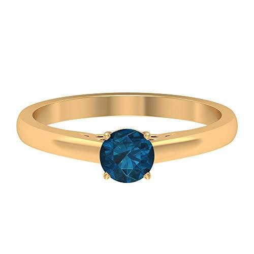 Solitär Versprechen Ring, 1/2 Karat rund geformt 5 mm Blautopas London, stapelbare Goldschmuck Kollektion, einfacher Verlobungsring, Geburtstagsgeschenk für Sie, 14K Gelbes Gold, Size:EU 70