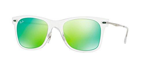 Ray-Ban Unisex 0rb4210 50 Sonnenbrille, Silber (Gestell: transparent silber Glas: grün verspiegelt 646/3R), Small (Herstellergröße