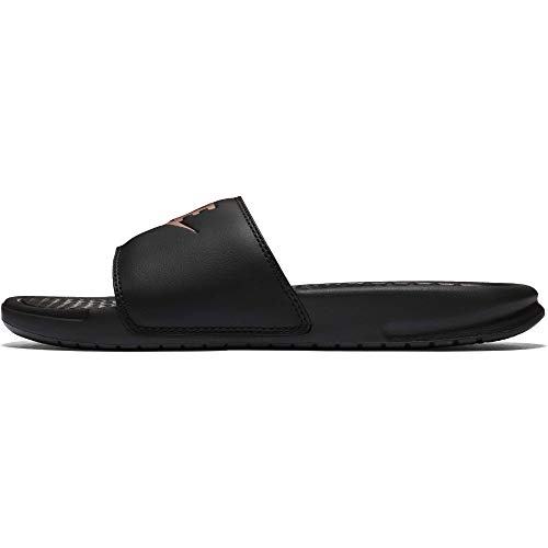 Nike Women's Benassi Just Do It Sandal, Black/Rose Gold, 6 Regular US