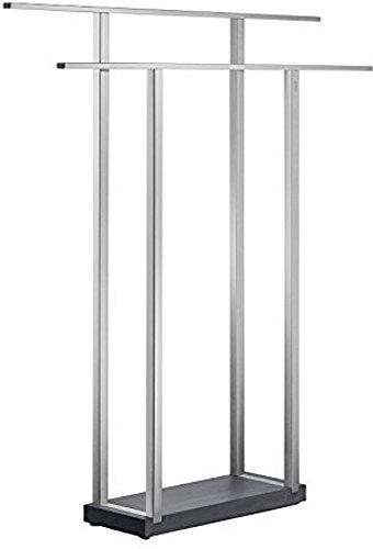 blomus -MENOTO- Handtuchständer aus mattiertem Edelstahl, Freistehend mit 2 Handtuchstangen, exklusive Optik, modernes Badaccessoire, einfache Montage (H / B / T: 90 x 75 x 16 cm, Edelstahl, 68694)