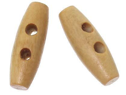 Handarbeit-Lieblingsladen 50 Holzknöpfe, Knebelknöpfe Oval 20 x 7mm Hellbraun braun- 2 Löcher Knebelverschluss Knöpfe aus Holz zum aufnähen annähen - Bastelknöpfe Mantelknöpfe