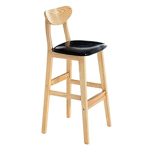 Cajolg Barhocker Empfangsstuhl Küchenbarhocker Mit Rückenlehne Und Fußstütze Für Die Küche Home Office Bar Clinic,Black Oil Wax Leather