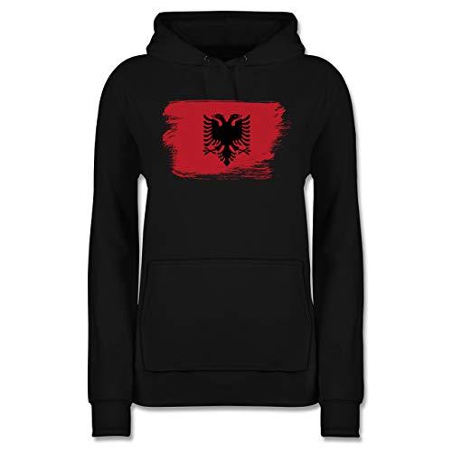 Städte - Flagge Vintage Albanien - S - Schwarz - albanien Pullover - JH001F - Damen Hoodie und Kapuzenpullover für Frauen